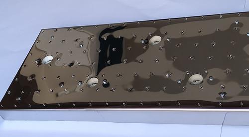base de aço inox 81x21cm para montagem de lustres 189 furos