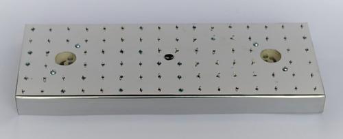 base de aço inox retangular 32,5x12,5 lustres 92 furos