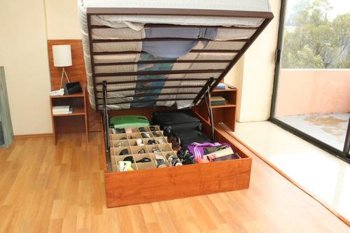 base de cama abatible closet matrimonial, madera y herrería