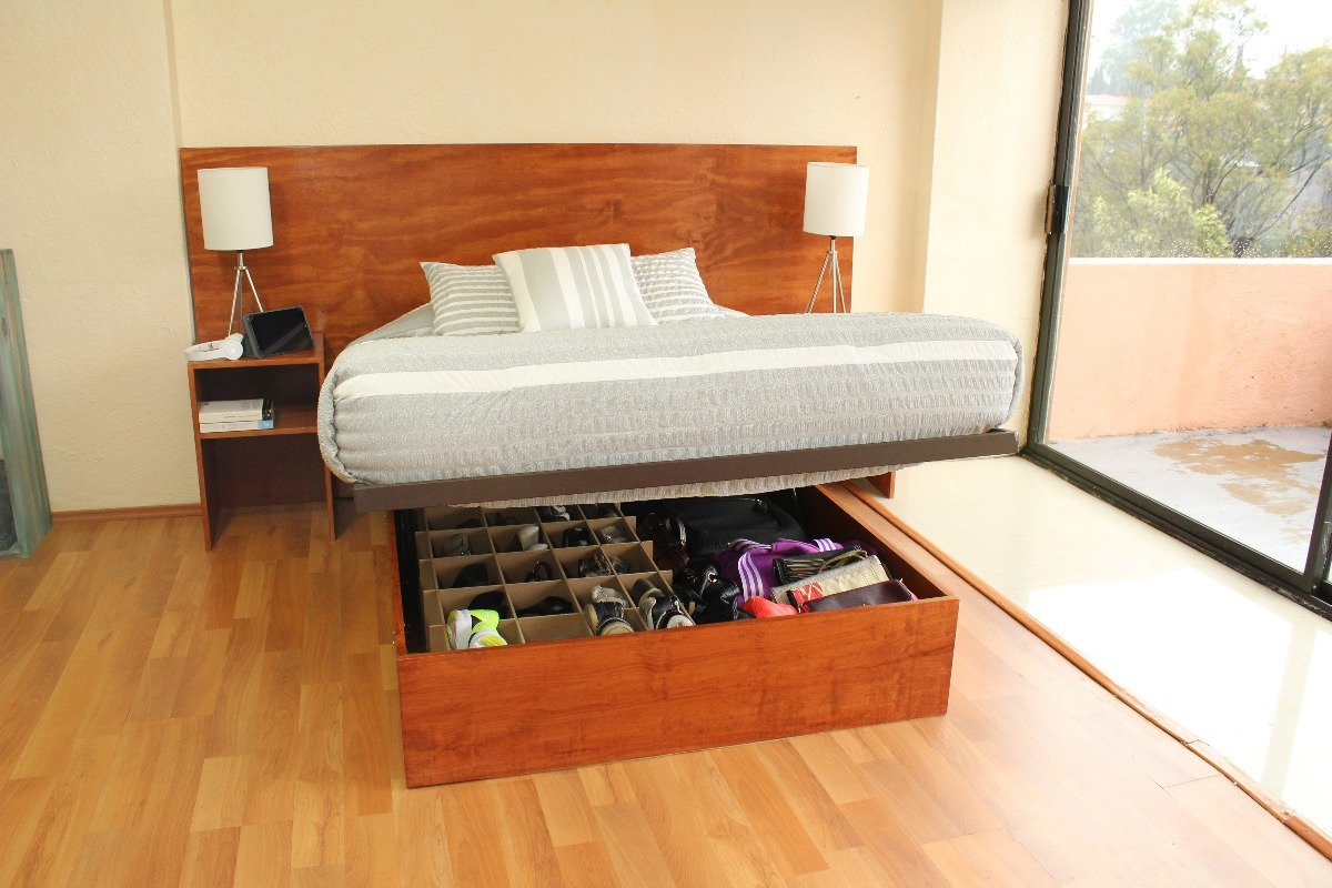Base de cama abatible closet queen madera y herrer a 9 en mercado libre - Construir cama abatible ...