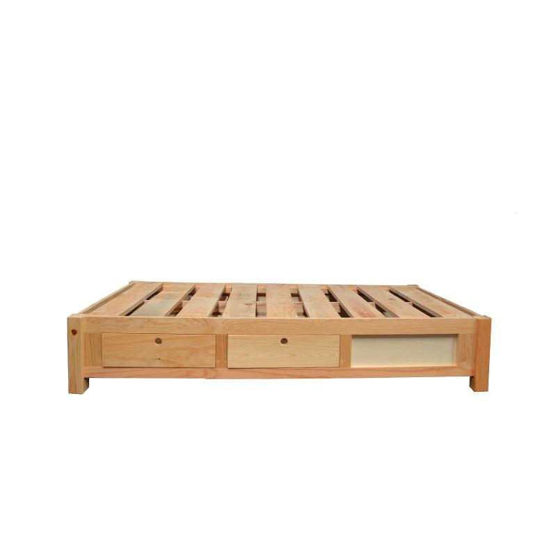 base de cama individual con cajones y zapatera minimalista