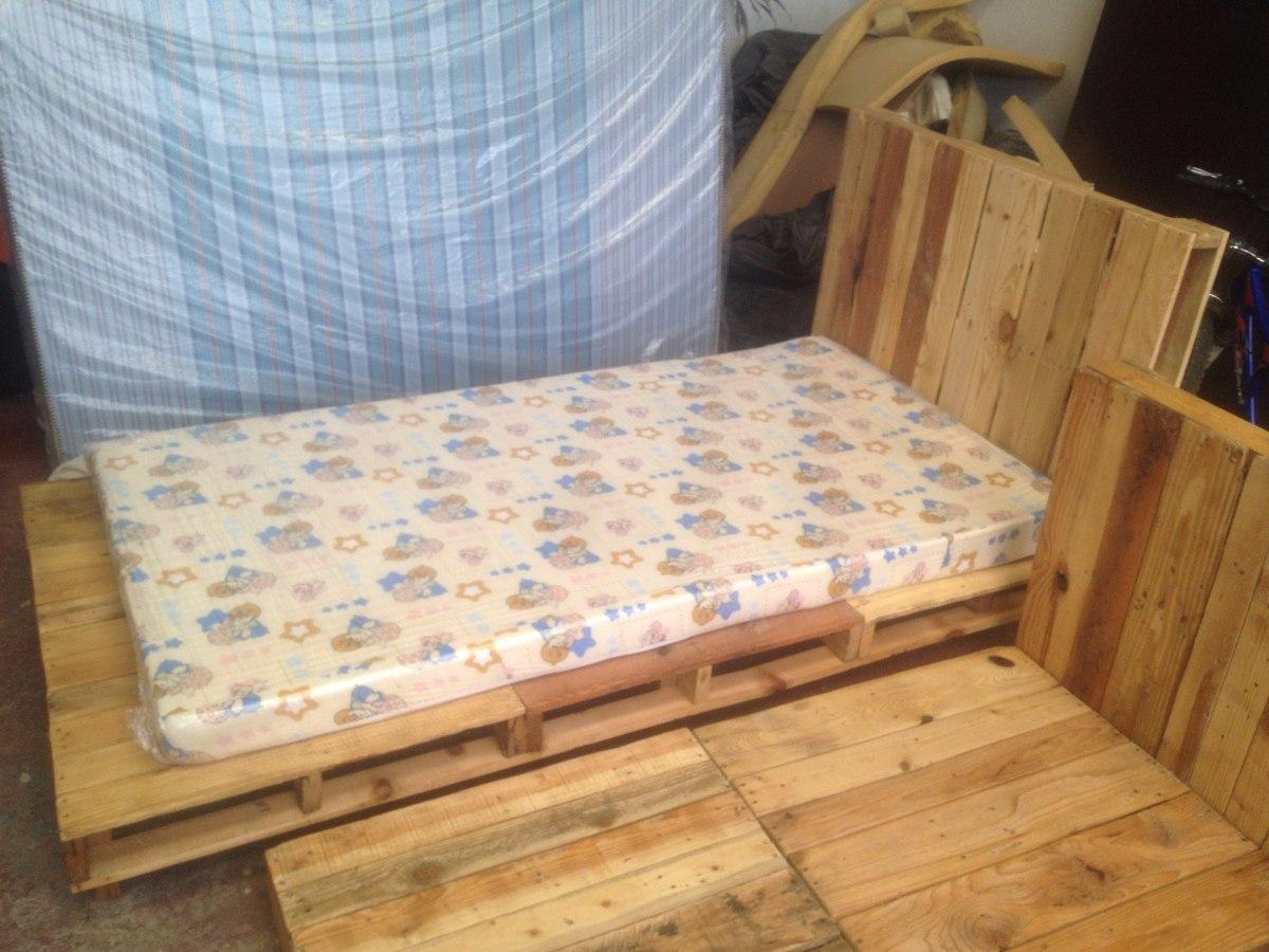 Base de cama individual hecha con tarimas 1 en for Base cama individual