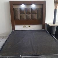 base de cama individual nueva forro vinil de madera pino