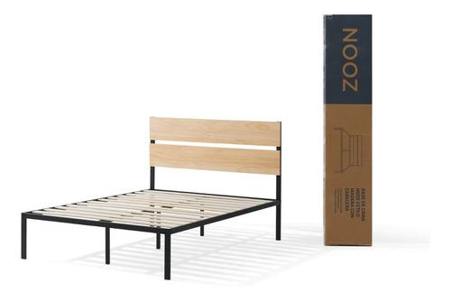 base de cama nooz estilo madera con cabecera, individual