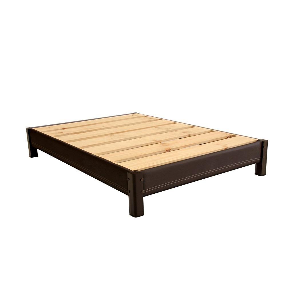 Base de cama queen size tapizada armable de madera for Base de cama queen size con cajones