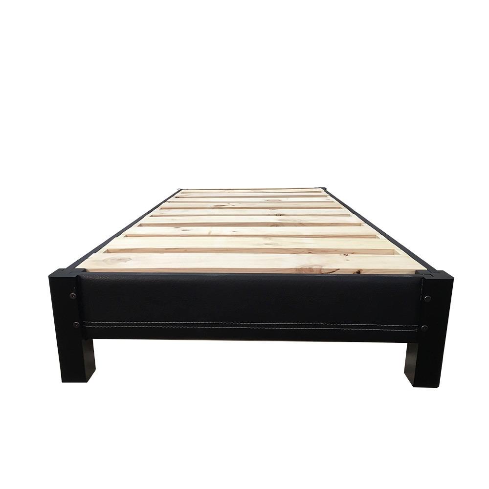 Base de cama tapizada individual armable de madera for Base cama individual