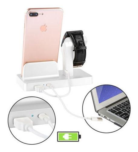 base de carga para apple watch series 4 3 2 1 iphone blanco
