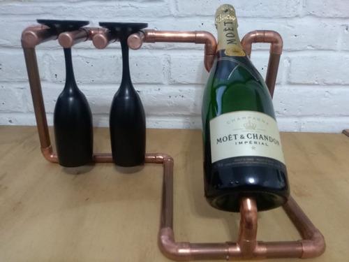 base de cobre para botella de vino champagne y par de copas