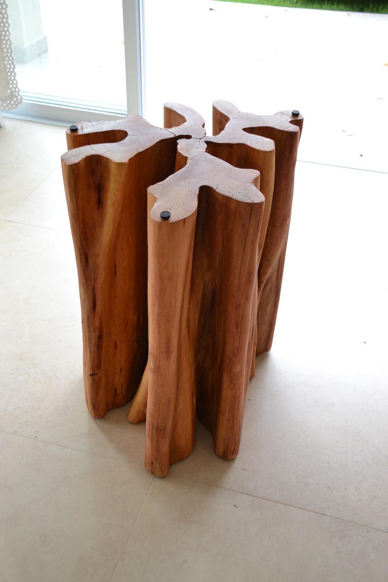Base de mesa guarant tronco org nico r stico moderno for Mesa de tronco