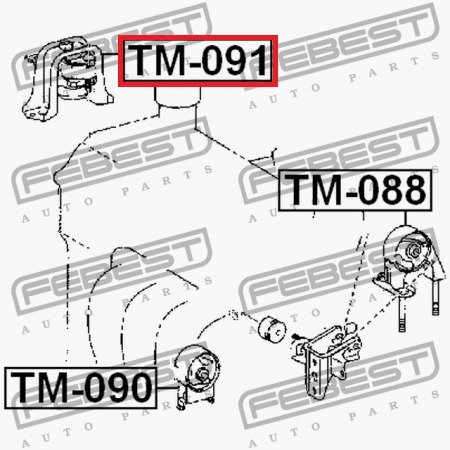 base derecha motor toyota yaris 12305-21060  febest.