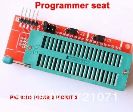 base dip40 zif programador pickit2 y pickit3, conexión icsp