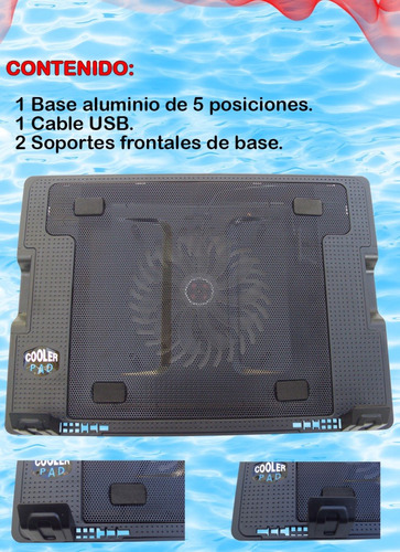 base enfriadora laptop metalica cinco posiciones cooler !