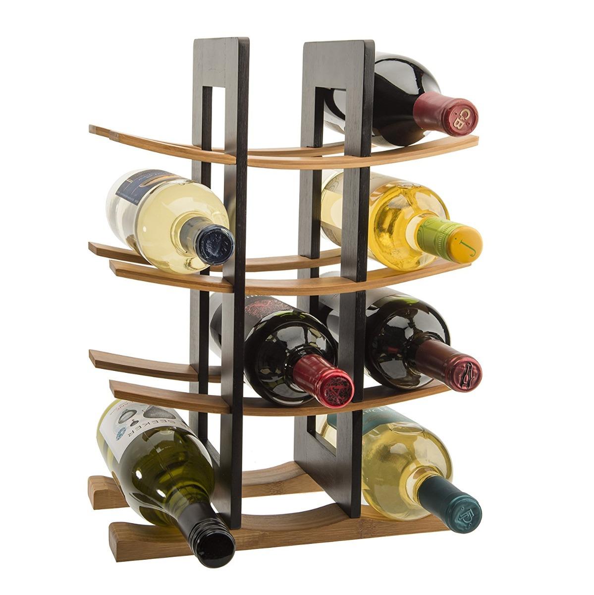 Base estante para vinos de bambu 12 botellas en for Estantes para vinos
