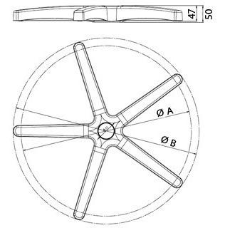 base estrela para cadeira secretária/executiva giratória