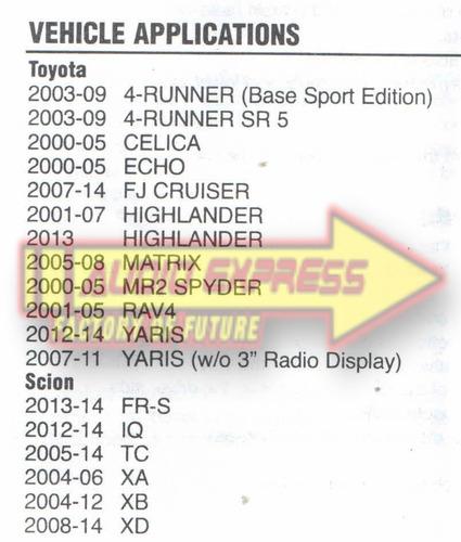 base frente estereo doble din 4 runner sr5 2003-09  hf0820s