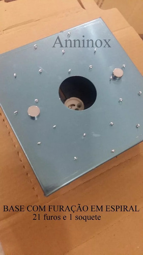 base inox para montagem de lustre de cristal 17x17 - espiral
