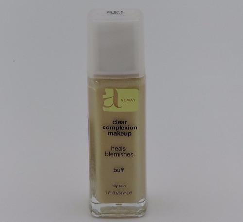 base liquida almay clear complexion oculta, corrige el acne