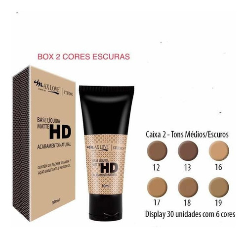 base matte hd max love box c/ 30 unid + 1 pincel 05 brinde