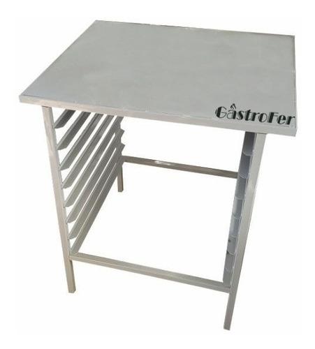 base mesa de horno pauna silcook con latero 8 bandejas 60x40