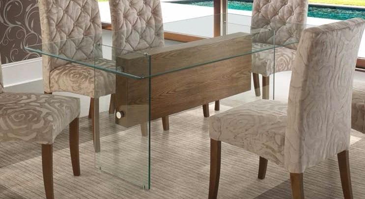 Base mesa de jantar luxo vidro e laminado de jequitib r for Bases de mesas cromadas