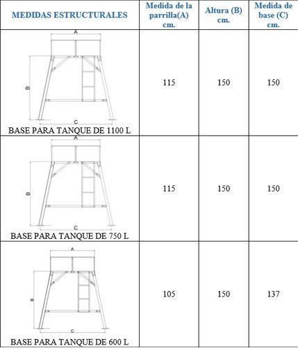 base metálica desarmable tanque rotoplas 500-1100 l.2 metros
