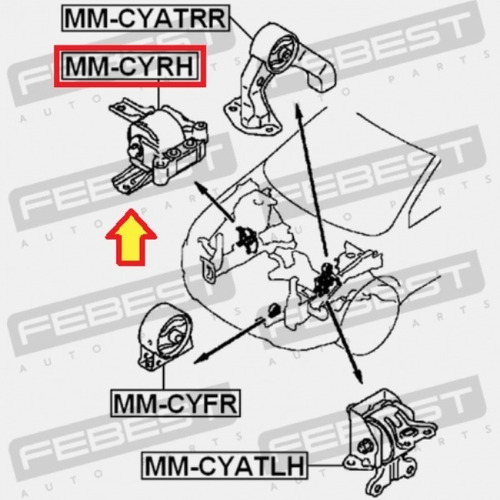base motor derecha mitsubishi outlander 3.0 2006 - 2013