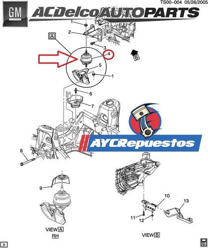 base motor trailblazer 4.2 6 cil. el par 2002-09 original gm