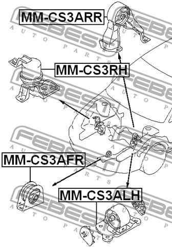base motor trasera lancer 1.6 mitsubishi febest mr554541