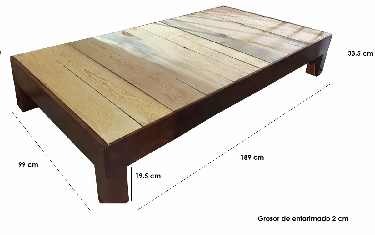 Base de madera para cama matrimonial 1 en for Medidas de base de cama queen