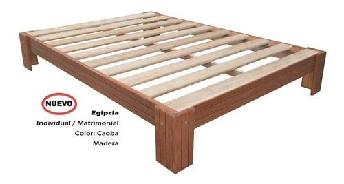 base para cama egipcia matrimonial caoba madera