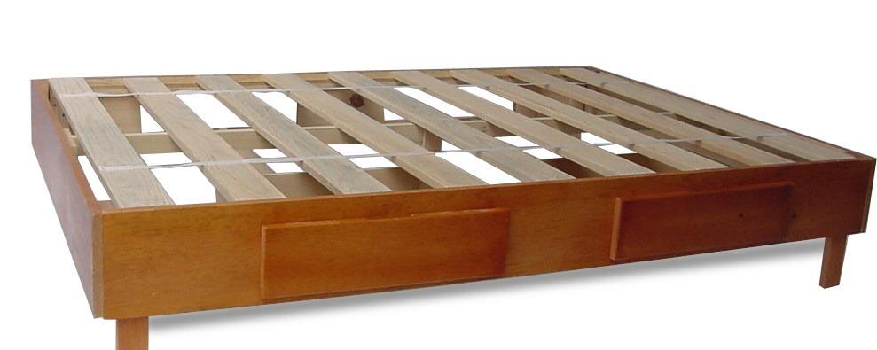 Base para cama en madera matrimonial individual o q s for Base cama individual con cajones