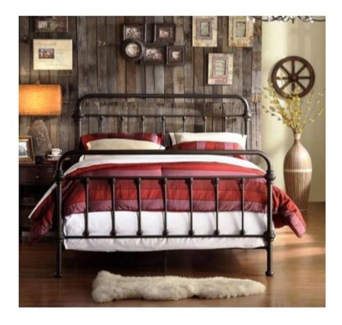 base para cama matrimonial marrón antiguo &  vintage