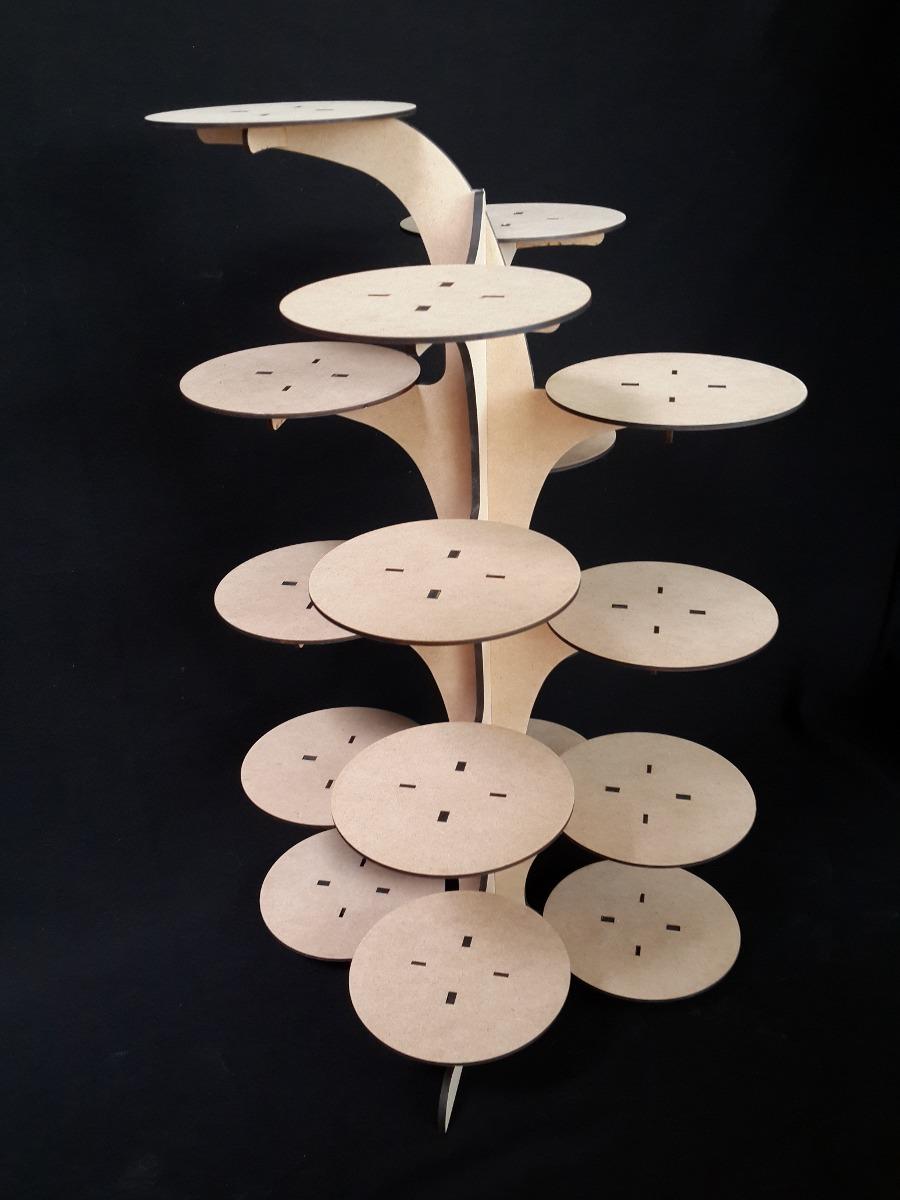 Base para cupcakes muffins panques centro de mesa mdf for Bases de mesas cromadas