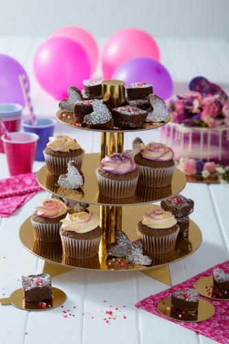base para cupcakes y pasabocas dorada - 24 cupcakes