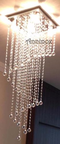 base para lustre de cristal 27x27cm 36 pêndulos inox