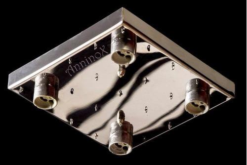 base para montagem de lustres de cristal em inox 18x18