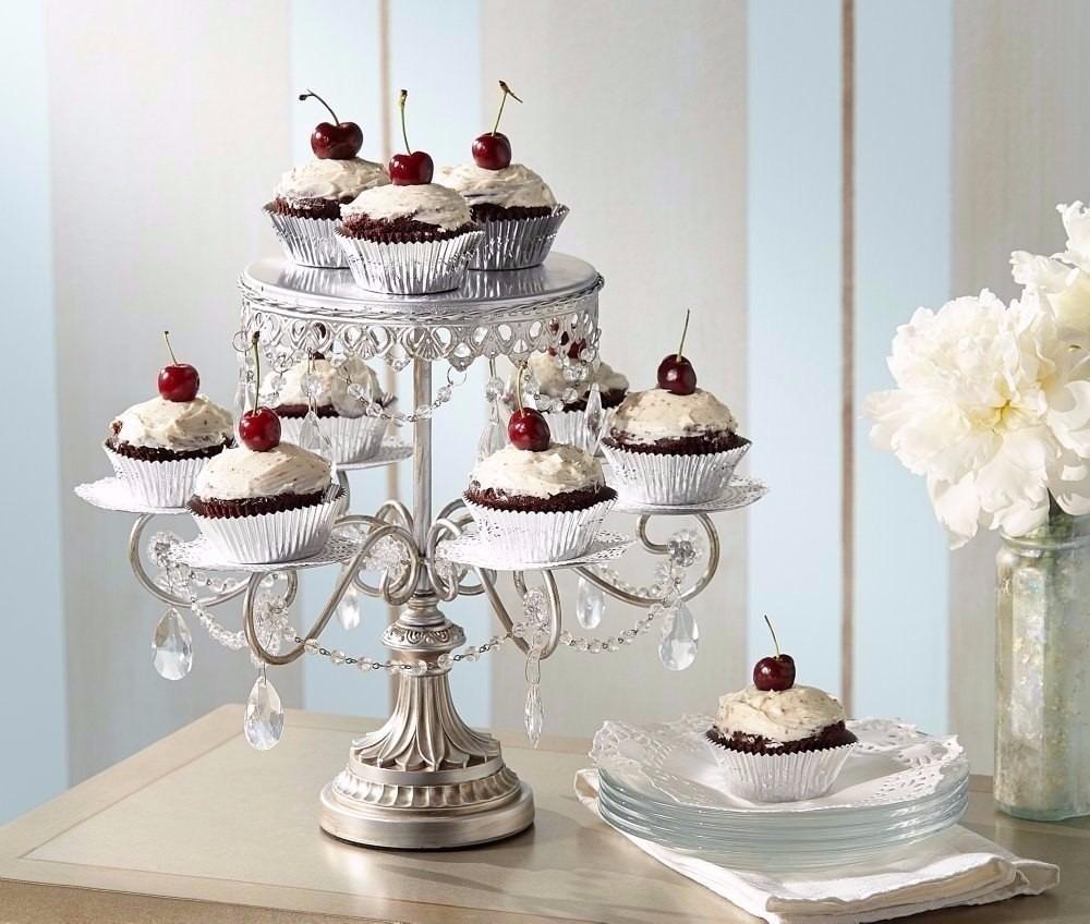 Base Para Pastel De Boda Cupcake Cristal Elegante Plata