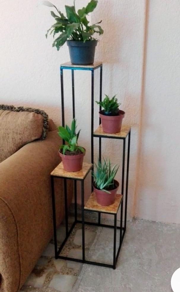 Base para plantas de interior o exterior de metal y madera - Jacinto planta de interior o exterior ...