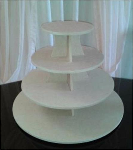 base para ponquesitos (cupcakes) en mdf crudo 4 pisos