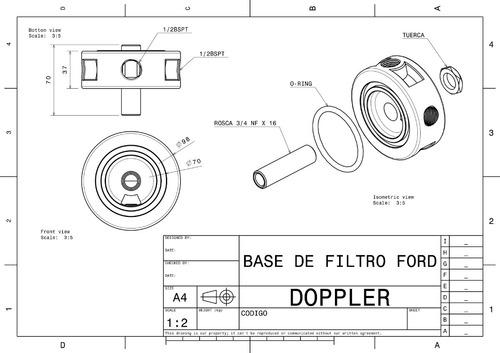 base porta filtro de aceite ford competicion 1/4 de milla rm