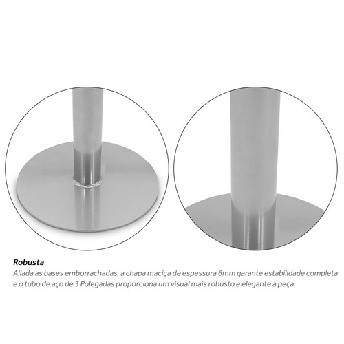 base redonda para mesa de vidro pedra madeira p/ tampo 70x70