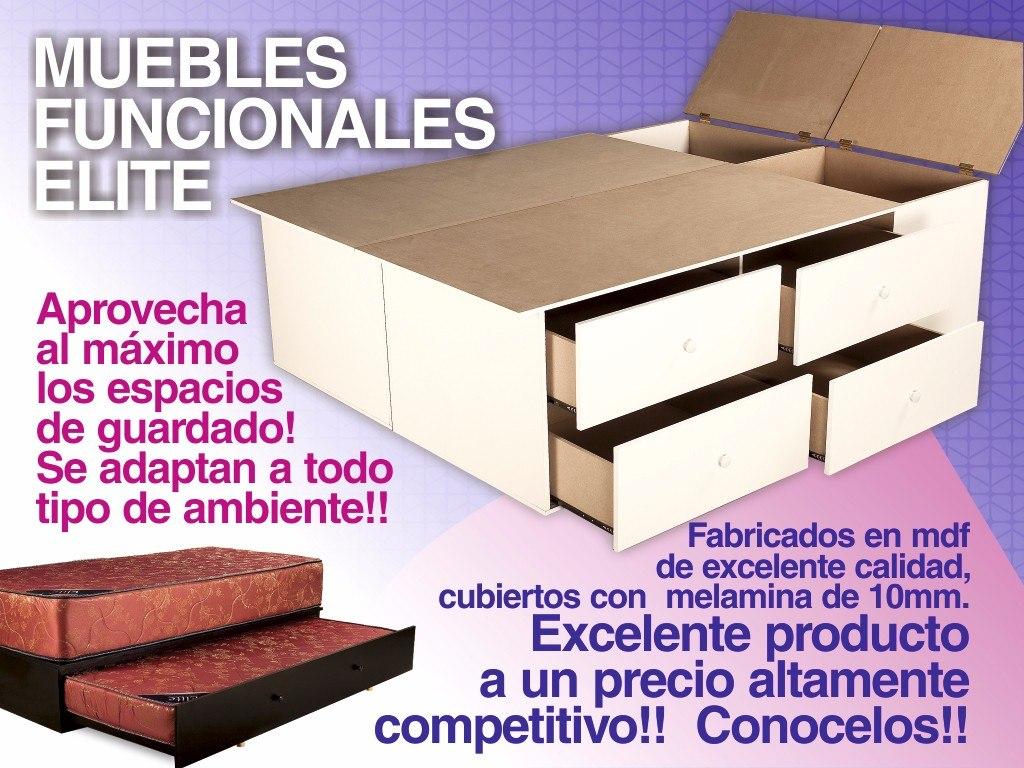 Base Sommier Box Somier Cama 1 Plaza 1/2 Cajones Y Baulera ...