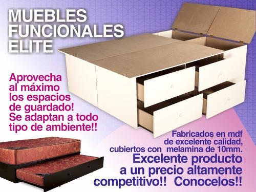 base sommier box somier cama 1 plaza 1/2 cajones y baulera.