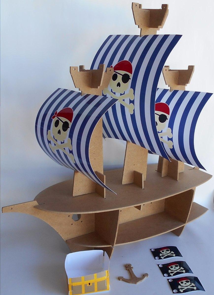Base stand barco pirata para cupcakes mdf al natural - Base de vela ...