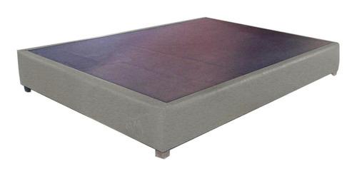 base tapizada lino gris cama recámara queen size quin sais