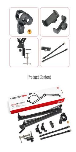 base tijera microfono condensador + soportes celular st201