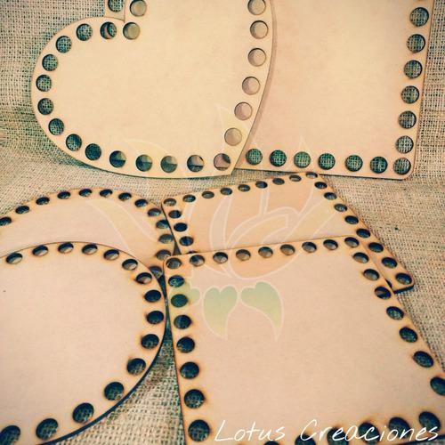 bases círculos o cuadrados 15x15cm mdf 3mm -corte láser-