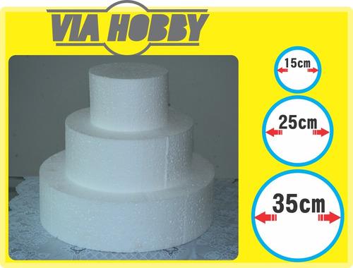 bases de isopor para bolo falso 3 andares 30cm- redondo