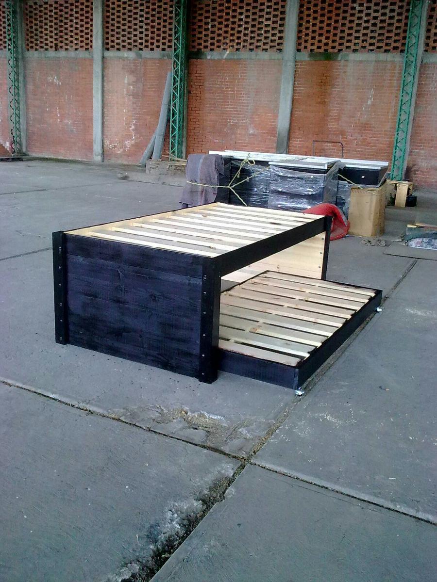 Bases de madera para cama canguro individual sin cajones for Base cama individual con cajones