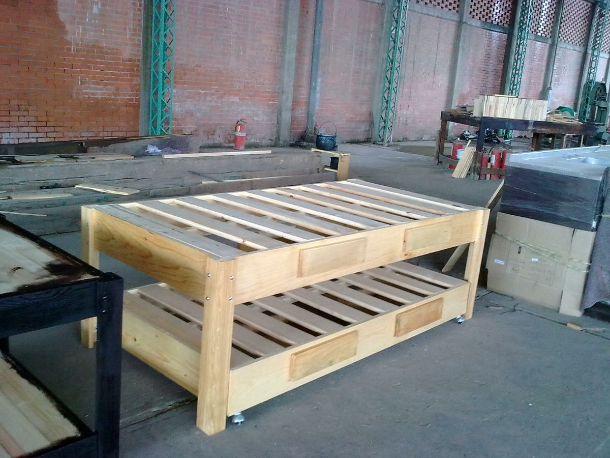 Bases de madera para cama canguro matrimonial e individual for Base para cama individual precios